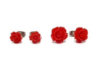 Red Rose Post Earrings ~ small and tiny size ~ 7mm or 10mm flower blossom - Stud Earring ~ petite carnation ~ crimson bloom