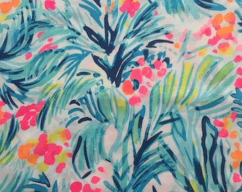 "serene blue tippy top  poplin cotton fabric square 18""x18"" ~ lilly summer 2017 ~ lilly pulitzer"