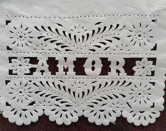 """10 lines / 100 flags Papel Picado """"AMOR"""" Mexican Bunting Cut out paper for weddings"""