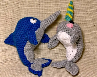 Amigurumi Narwhal Pattern : Small amigurumi narwhal pattern whale crochet pattern cute