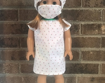 "18"" Doll Hospital Gown, Hat, & Mask (fits American Girl Dolls)"