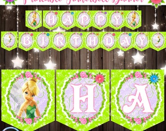 Printable TINKERBELL Banner, Tinkerbell Birthday Party, Pixie Fairy Decorations, 1st Birthday, Garden Fairy Birthday, Tinkerbell Party Decor