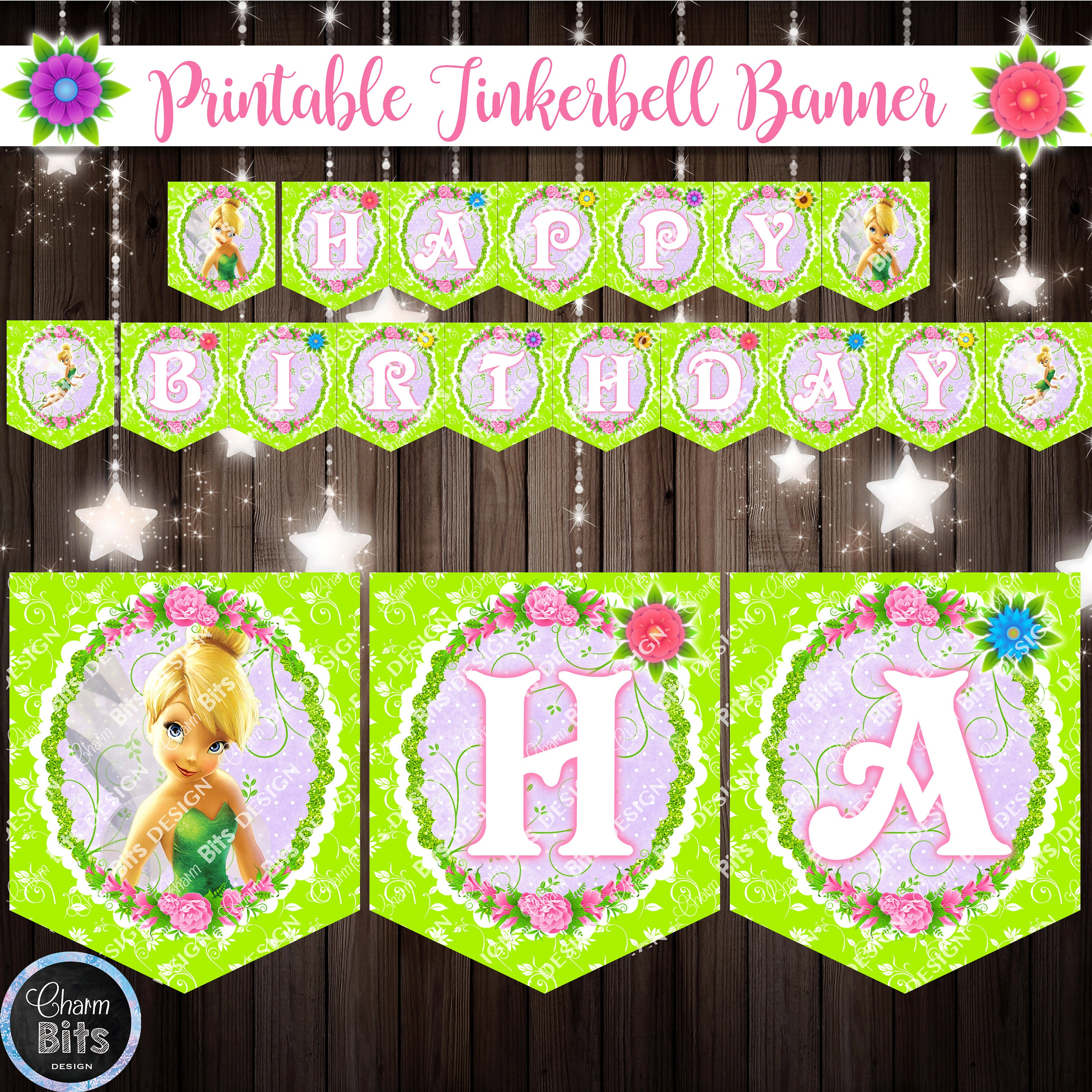 Printable TINKERBELL Banner Tinkerbell Birthday Party Pixie