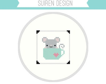 Mouse In A Cup Cross Stitch PDF Digital Download
