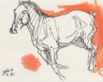 Horse Original Ink Sketch, Equine Art, Contemporary Original Fine Art, Animal Study