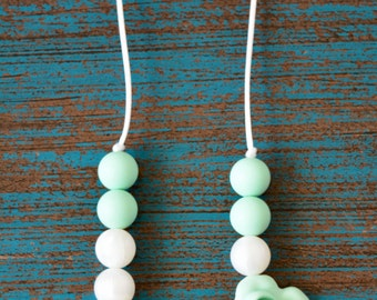Flower Silicone Teething Necklace, Rose Silicone Teething Beads, Toddler Sensory Necklace, Silicone Flower, Pearl White and Mint, BPA Free