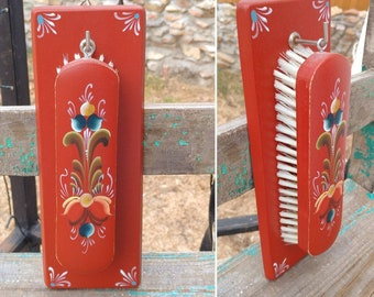"""Beautiful Vintage Scandinavian Red Floral Painted Wall Hanging Wood Shoe Brush from Norway measures 9.75"""" x 3.5"""" overall ~ Folk Art Decor ~"""