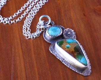 Royston Turquoise pendant - Sterling silver Turquoise pendant | Silver turquoise necklace | Mulit stone pendant