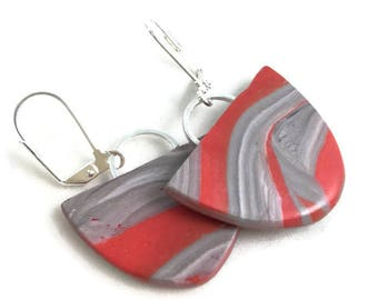 Modern design dangle earrings beautiful deep orange and gray marbled