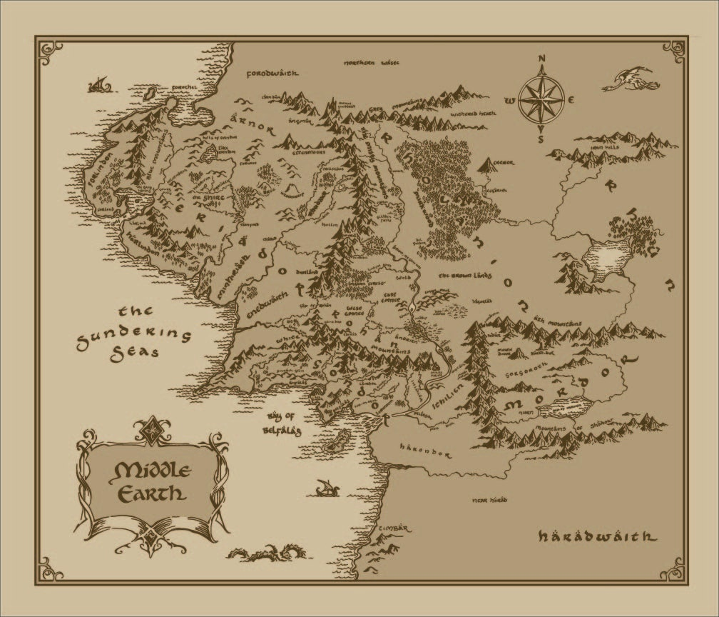 🔎zoom. medium middle earth map cotton fabric lord of the rings the