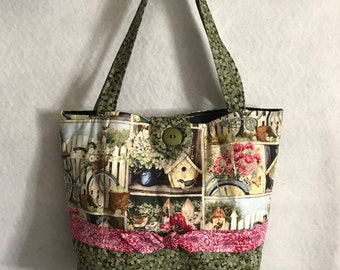 Floral Tote Bag, Garden Tote Bag, Quilted Bag, Birdhouse Tote Bag, Bicycle Tote Bag, Pocketbook, Purse, Clothe Bag