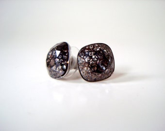 Black Patina Crystal Studs - Swarovski crystal square cushion large stud earrings - black patina, stainless steel post, edgy bold dark weird