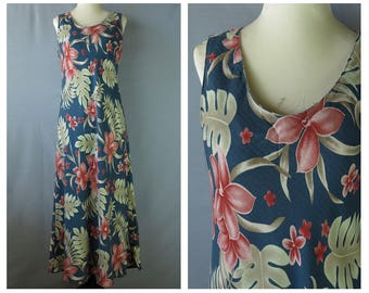 Free SHIPPING Vintage Hawaiian Maxi Dress / Long Floral Summer Dress / 90s Floral Print / Beach Dress / Tropical / Tiki / Hibiscus / large