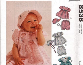 McCall's 8536      Infant's Dress, Hat and Panties       Sizes Sm-Xlrg      Uncut