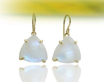 MOTHER'S DAY SALE - Rainbow moonstone earrings,trillion earrings,triangle earrings,gemstone earrings,semiprecious earrings,wedding earri