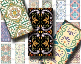 Tuiles d'autour du monde (1) feuille de Collage numérique - motif mosaïque merveilleux - 30 Dominos 1 x 2 pouce ou bambou taille pour pendentif en résine