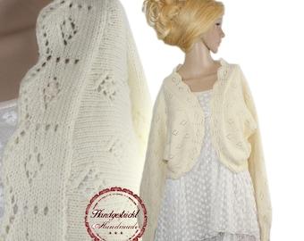 Hand knitted Handmade Romance vintage bolero Schulterjäckchen new size 42 44 L