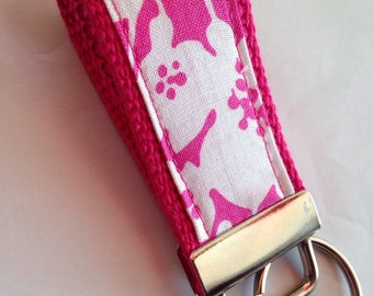 Mini pink and white key fob