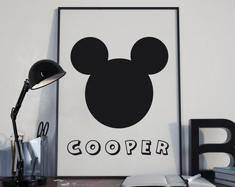 MICKEY MOUSE Minimalist Wall Decor Art 8x10 PDF - Digital Print, Personalised with your childs name! Mickey Mouse Wall Art Print Boy or Girl
