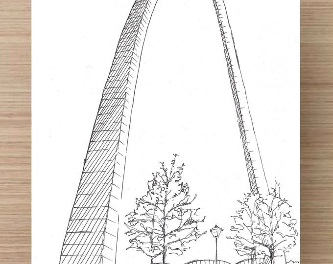 Ink Sketch of St Louis Arch in Missouri - Jefferson Expansion, Drawing, Art, Architecture, National Park, Monument, 5x7, 8x10, Print