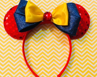 Beautiful Snow White Bow inspired Red Minnie Mouse Headband Ears