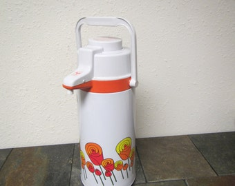 vintage 1970s  Air Pot with Bright Flower design , airpot keeps hot or cold ,  made in Japan