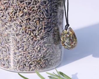 Lavender cast in resin teardrop