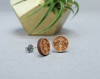 Starbucks Logo Earrings - Laser Engraved on Alder Wood - Hypoallergenic Titanium Post - Siren Mermaid