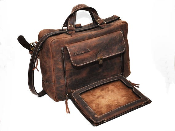 11 inches Organizer Convertible Leather Backpack, Briefcase, Backpack and Messenger Bag all in one, Laptop and iPad