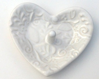 """White Ring Dish // Engagement RingHolder // Heart Trinket Dish with Leaf and Vine Texture 3.5""""x 3.5"""""""