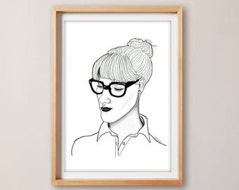 Sophisticated Print– Portrait Print – living room decor – Home decor – Home and Living – drawing – workspace decor – shop decor