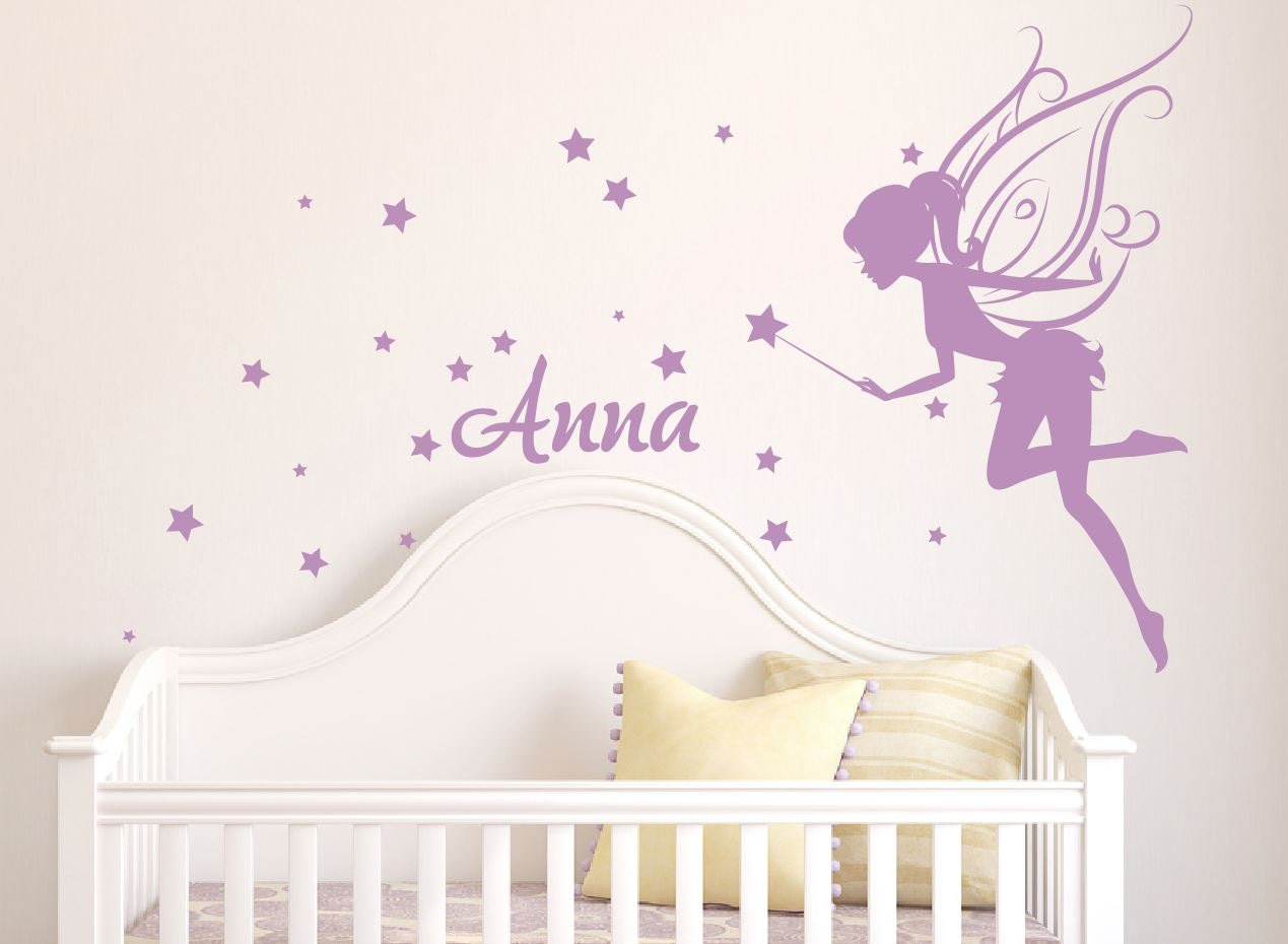 ?zoom  sc 1 st  Etsy & Fairy Wall Decal girl name wall decal fairy wall decals