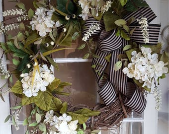 Farmhouse Wreath,rustic Wreath,front Door Wreath, Cream White Wreath,cream  Wreath