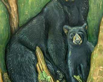 """Momma and Baby Bear 8x10"""" Print of original wood carving"""