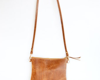 Leather crossbody bag  / Minimalist bag / Small leather bag / Leather purse / Simple leather bag  / Toffee leather