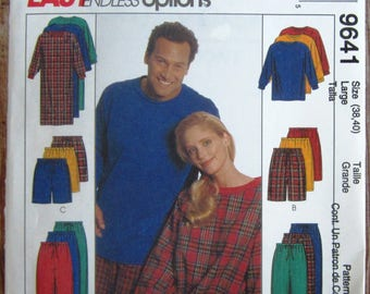 Easy Sew Misses/Mens Nightshirt or Top and Pull-On Pants or Shorts in Two Lengths Size Large (38,40) McCalls Pattern 9641 UNCUT