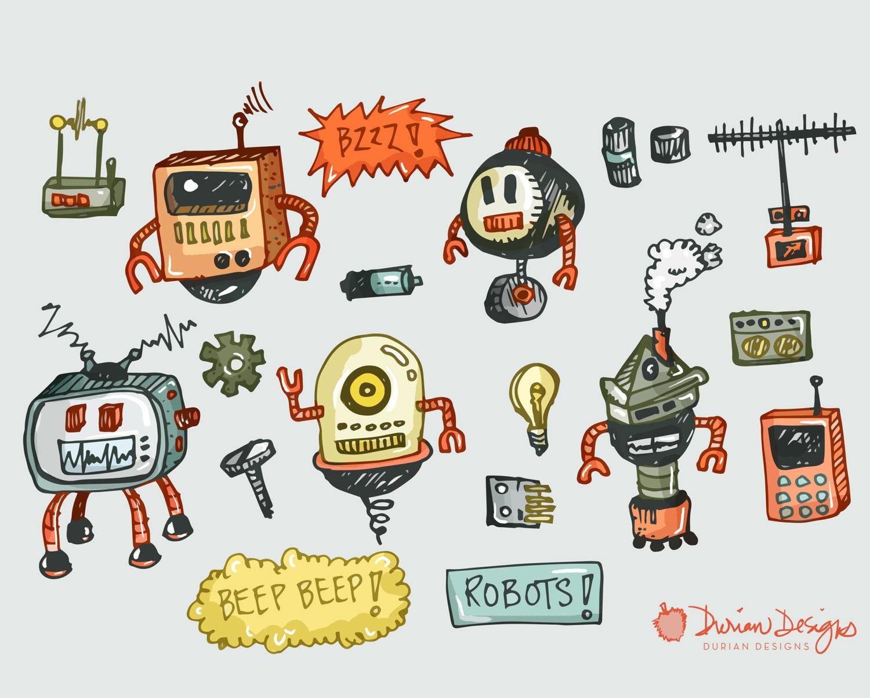 Roboter-Clipart kommerzielle Nutzung, clip handgezeichnete Roboter ...