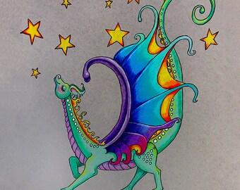 My Stars, mouse pad, dragon, strutting dragon, cute dragon, green dragon, dragon and stars,dragon mouse pad,