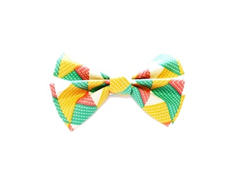 Bow Tie - Fabric Bow Tie - Hair Bow - Teal, Coral and Mustard - Geometric - Charles Bow - dainty and Dapper