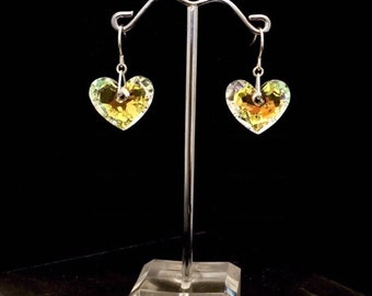 Truly in Love Contemporary honeycomb Faceted AB Swavorski Crystal Heart Dangle Earrings
