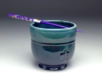 Handmade rice bowl, large ceramic bowl, ramen soup dish, aqua cobalt blue, layer drip glaze, porcelain clay, handmade pottery, Gabriel Kline