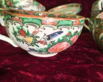 1850's antique rose medallion teacups (set of 8)
