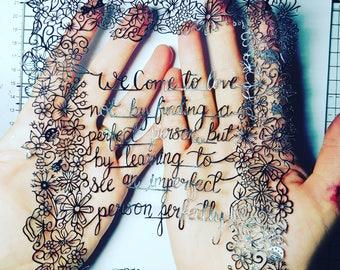 Original Papercut Love Quote A4