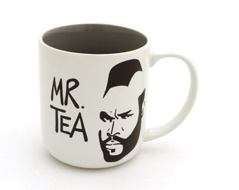 Mr. Tea mug, grey interior, large 16 oz mug, gift for tea drinker