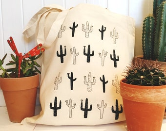 Wild Cactus Tote // Canvas Bag, Cactus, Shopper, Tote Bag, Cotton Tote Bag, Print, Totes, Canvas Tote Bag, Cotton Bag, Inspirational Print,