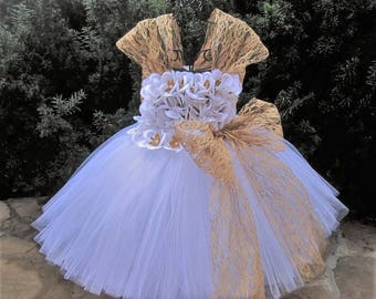 WHITE GOLD with LACE- White Flowers Tutu Dress - Baptism Gown - Flower Girl Dress - Pageant Girl Dress - Wedding Dresses - Free Headband -