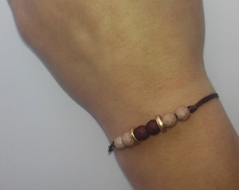 Korean lace bracelet, matte Czech crystal and Zamak.