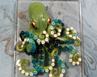 Polymer Clay Green Octopus Sculpture Keychain or Hanger - OOAK - Hand Sculpted Acrylic Chip - Practical or Decorative