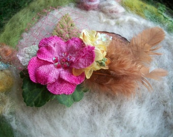 Small Feather Hair Clip, Pink Tulle and Hydrangea Blossoms