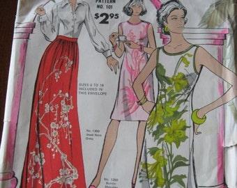 Vintage 60s Alfred Shaheen Shift, Dress and Skirt Pattern sz 6 thru 18 UNCUT
